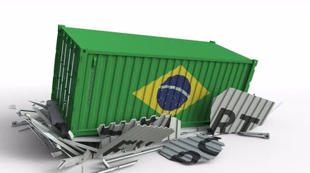 bandiera brasiliana : Container with flag of Brazil breaking container with EXPORT text. Conceptual 3D animation