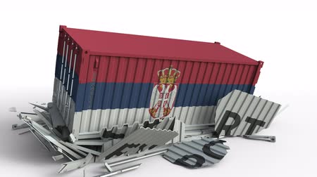 sérvia : Container with flag of Serbia breaking container with EXPORT text. Conceptual 3D animation