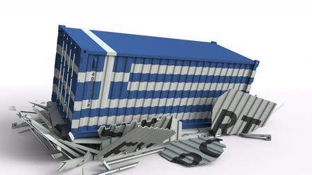 csattanás : Cargo container with flag of Greece breaks container with EXPORT text. Conceptual 3D animation