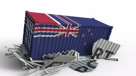 nový zéland : Container with flag of New zealand breaking container with EXPORT text. Conceptual 3D animation