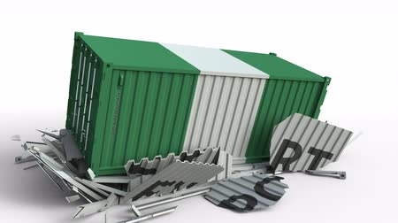 nigeria flag : Container with flag of Nigeria breaking container with EXPORT text. Conceptual 3D animation