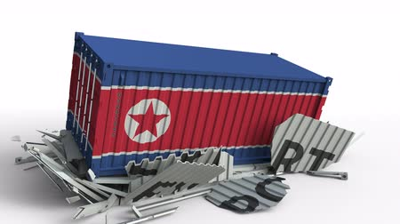 dprk : Container with EXPORT text being crashed with container with flag of North Korea, conceptual 3D animation