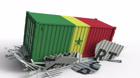 доставки : Container with EXPORT text being crashed with container with flag of Senegal, conceptual 3D animation