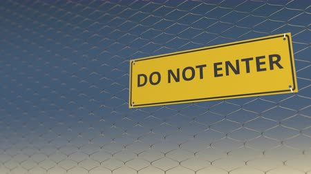 tilalom : DO NOT ENTER sign an a mesh wire fence against the sky, 3D animation Stock mozgókép