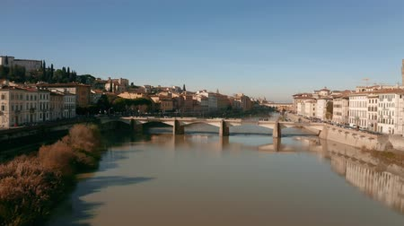 arno : Aerial view of the Arno river and bridges in Florence. Italy