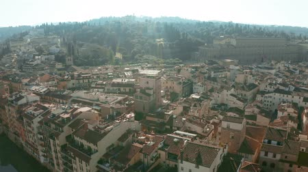 palazzo : Aerial view of ancient Forte di Belvedere, Palazzo Pitti palace and riverfront houses in Florence, Italy
