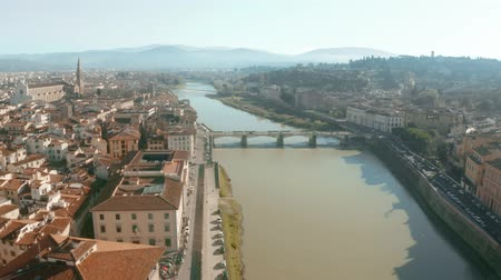 arno : Aerial shot of the Arno river and cityscape of Florence, Italy Stock Footage
