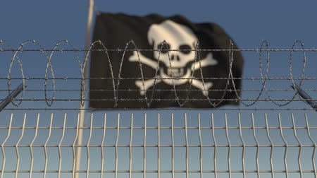 barriers : Barbed wire against defocused waving Jolly Roger black pirate flag. Loopable 3D animation