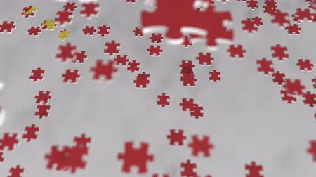 consist : Flag of China being made with jigsaw puzzle pieces. Chinese problem solution conceptual 3D animation Stock Footage