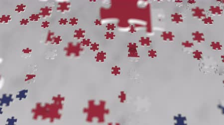 consist : Flag of the United Kingdom being made with jigsaw puzzle pieces. British problem solution conceptual 3D animation