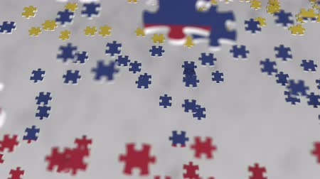consist : Flag of Colombia being made with jigsaw puzzle pieces. Colombian problem solution conceptual 3D animation