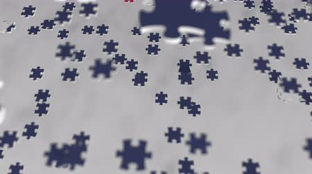 consist : Flag of Australia being made with jigsaw puzzle pieces. Australian problem solution conceptual 3D animation