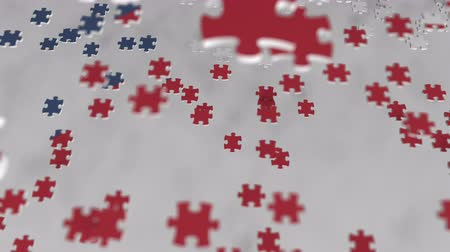 consist : Flag of the Czech Republic being made with jigsaw puzzle pieces. Problem solution conceptual 3D animation
