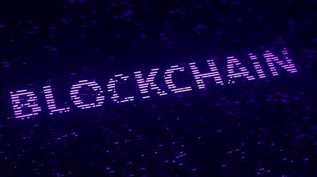 block chain : Purple BLOCKCHAIN word made with flying luminescent particles. Loopable 3D animation