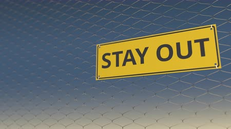 uithangbord : STAY OUT sign an a wire fence against sky, 3D animation Stockvideo