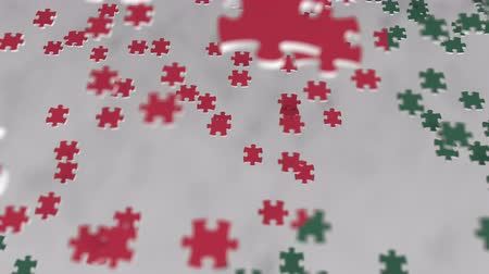 consist : Flag of Bangladesh being made with jigsaw puzzle pieces. Bangladeshi problem solution conceptual 3D animation