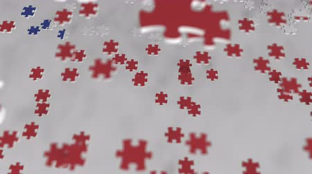 consist : Flag of Chile being made with jigsaw puzzle pieces. Chilean problem solution conceptual 3D animation