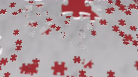 consist : Flag of Hong Kong being made with jigsaw puzzle pieces. Problem solution conceptual 3D animation