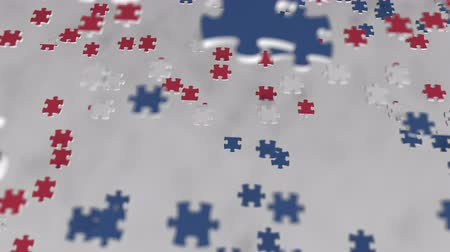 consist : Flag of Iceland being made with jigsaw puzzle pieces. Icelandic problem solution conceptual 3D animation