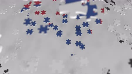 consist : Flag of South Korea being made with jigsaw puzzle pieces. Korean problem solution conceptual 3D animation Stock Footage