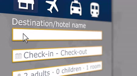 rezervasyon : Hotel search in Khartoum on some booking site. Travel to Sudan related 3D animation Stok Video