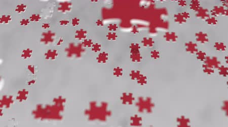 головоломки : Flag of North Korea being made with jigsaw puzzle pieces. Problem solution conceptual 3D animation Стоковые видеозаписи