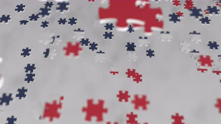 consist : Flag of Norway being made with jigsaw puzzle pieces. Norwegian problem solution conceptual 3D animation Stock Footage