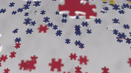 consist : Flag of Venezuela being made with jigsaw puzzle pieces. Venezuelan problem solution conceptual 3D animation Stock Footage