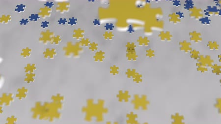 consist : Flag of Ukraine being made with jigsaw puzzle pieces. Ukrainian problem solution conceptual 3D animation Stock Footage