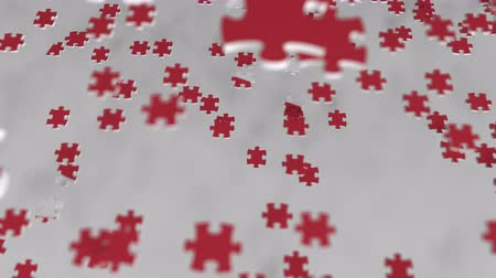 consist : Flag of Turkey being made with jigsaw puzzle pieces. Turkish problem solution conceptual 3D animation