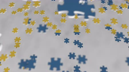consist : Flag of Sweden being made with jigsaw puzzle pieces. Swedish problem solution conceptual 3D animation