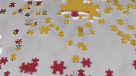 consist : Flag of Spain being made with jigsaw puzzle pieces. Spanish problem solution conceptual 3D animation Stock Footage
