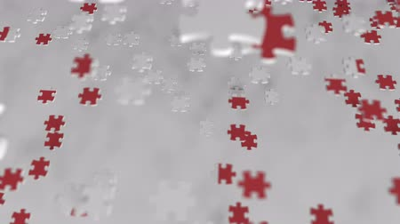 consist : Flag of Switzerland being made with jigsaw puzzle pieces. Swiss problem solution conceptual 3D animation
