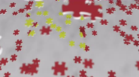 çözmek : Flag of Vietnam being made with jigsaw puzzle pieces. Vietnamese problem solution conceptual 3D animation