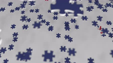 consist : Flag of New Zealand being made with jigsaw puzzle pieces. Problem solution conceptual 3D animation