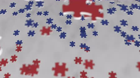 consist : Flag of Russia being made with jigsaw puzzle pieces. Russian problem solution conceptual 3D animation