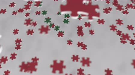 consist : Flag of Morocco being made with jigsaw puzzle pieces. Moroccan problem solution conceptual 3D animation