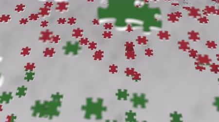 consist : Flag of Oman being made with jigsaw puzzle pieces. Omani problem solution conceptual 3D animation