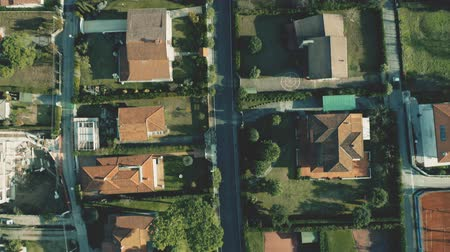 działka : Aerial top down view of mediterranean villas with tiled sloped roofs