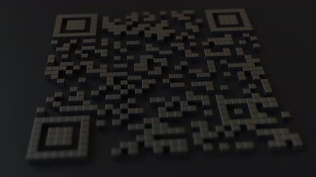 esterlino : Quick Response or QR code with pound sterling sign. Modern fintech related 3D animation Stock Footage