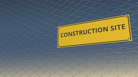 restrição : CONSTRUCTION SITE sign an a mesh wire fence against blue sky. 3D animation