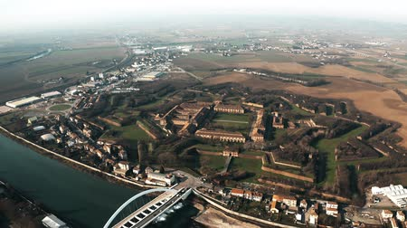 alessandria : High altitude aerial view of star shaped Citadel or Cittadella of Alessandria, Italy