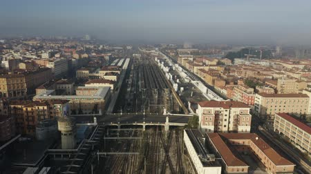 bolonhesa : Aerial view of Bologna Centrale railroad station within cityscape, Italy