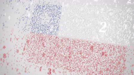 Чили : Many numbers compose flag of CHILE. Digital technology related 3D animation
