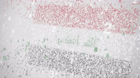 compor : Flag of IRAQ being composed with numbers. Digital economy conceptual 3D animation
