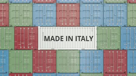 container terminal : Container with MADE IN ITALY text. Italian import or export related 3D animation