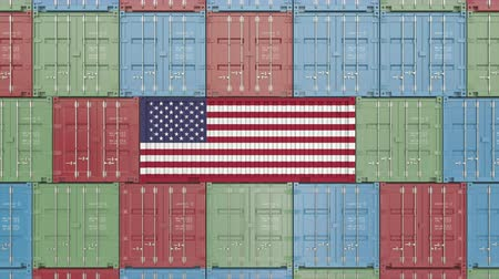 hurtownia : Container with flag of the United States of America. American import or export related 3D animation