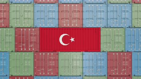 fornecimento : Cargo container with flag of Turkey. Turkish import or export related 3D animation