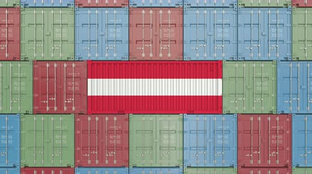 ausztria : Container with flag of Austria. Austrian import or export related 3D animation