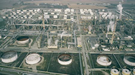 hazardous : Aerial view of an oil refinery Stock Footage